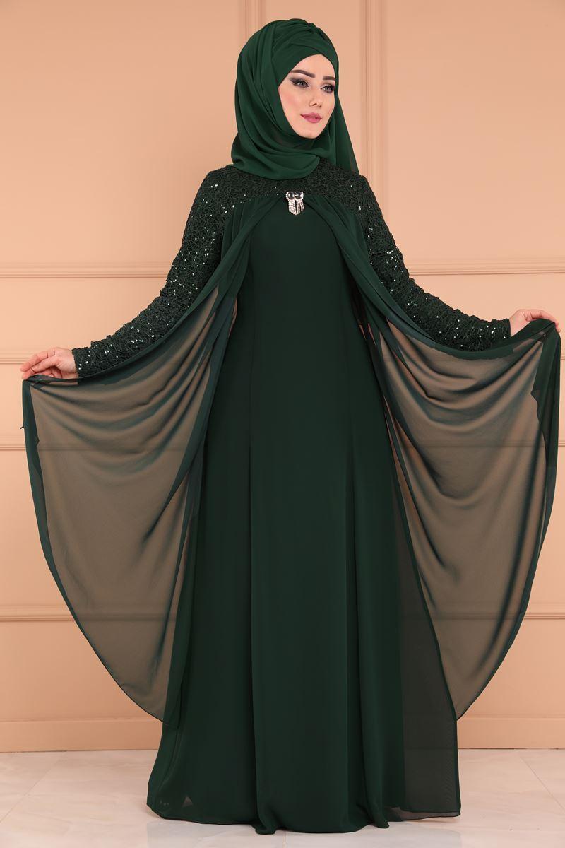 2018 Modaselvim.Com Tesettur Abiye Elbise Modelleri-broslu-sifon-koyu-zumrut