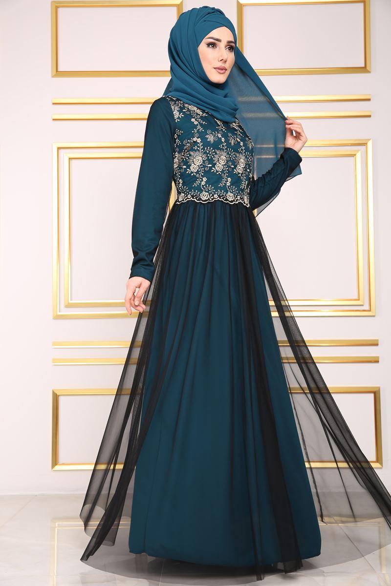 2018 Modaselvim.Com Tesettur Abiye Elbise Modelleri-gold-cicekli-tullu-petrol