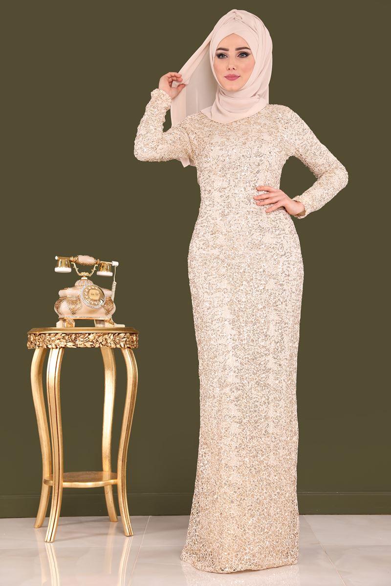 2018 Modaselvim.Com Tesettur Abiye Elbise Modelleri-payetli-bej