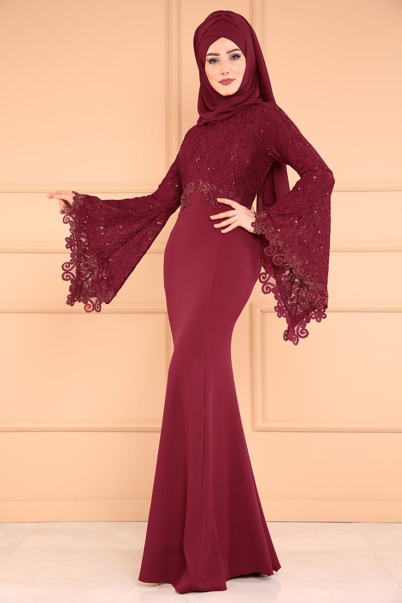 2018 Modaselvim.Com Tesettur Abiye Elbise Modelleri-pul-payetli-balik-bordo