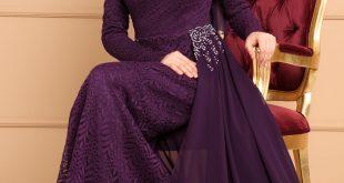 2018 Modaselvim.Com Tesettur Abiye Elbise Modelleri sifon kuyruklu dantel murdum