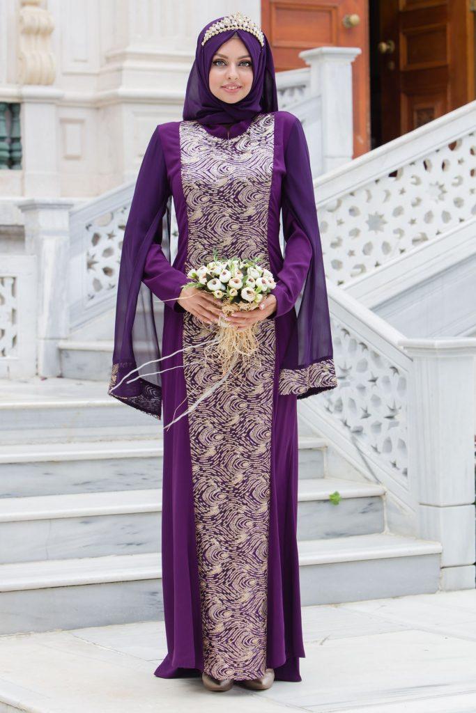 2018 Payetli Tesettur Abiye Elbise Modelleri--pullu-payetli-abiye-elbise-mor