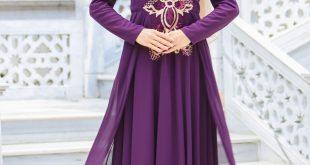 2018 Payetli Tesettur Abiye Elbise Modelleri sal kombinli pul payetli tesettur abiye elbise mor