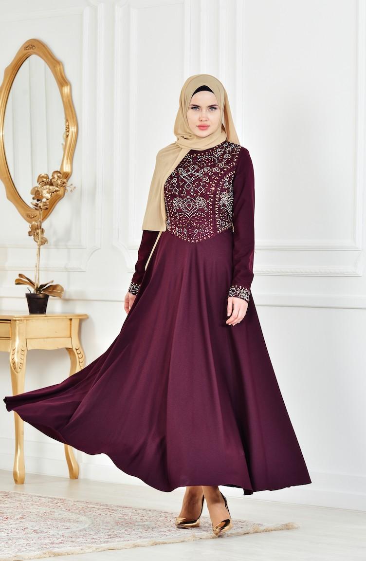 2018 Sefamerve.com Tesettur Abiye Elbise Modelleri bordo