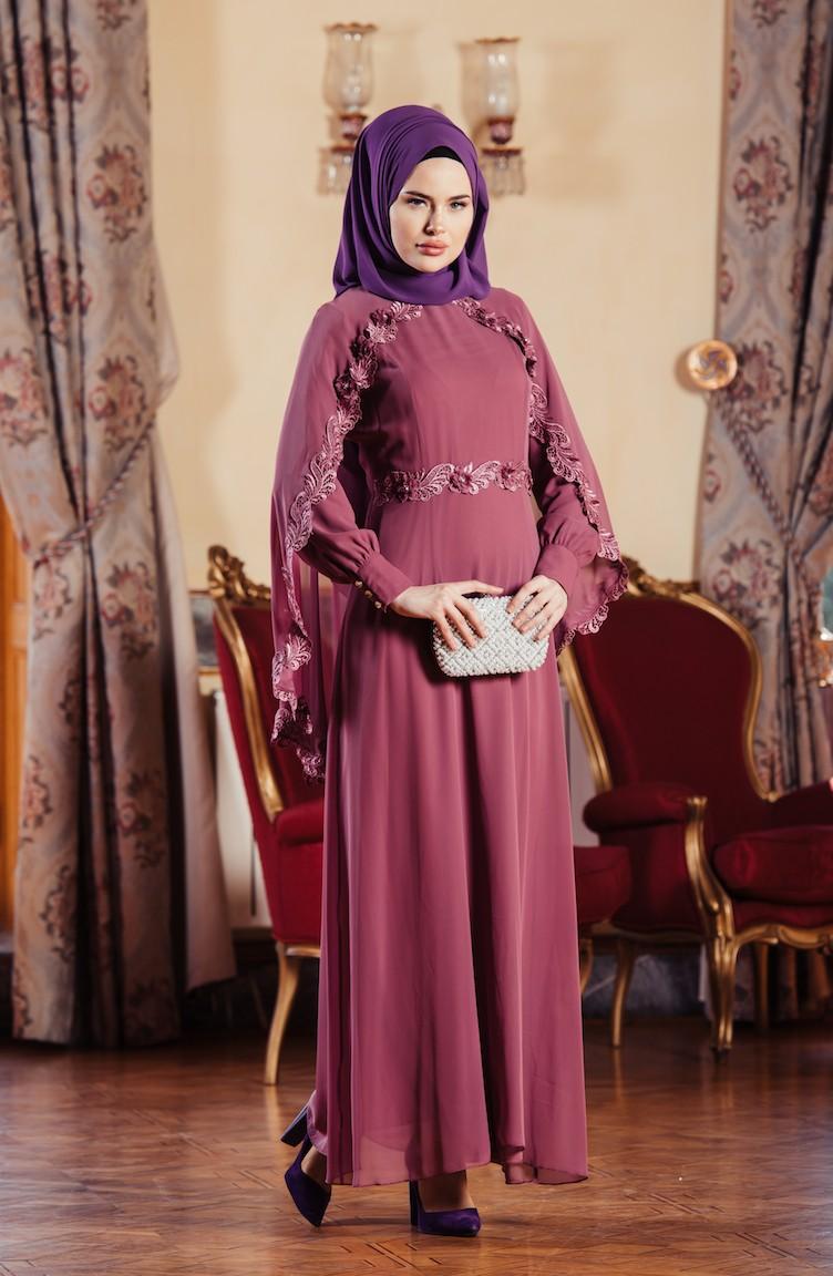 2018 Sefamerve.com Tesettur Abiye Elbise Modelleri gul kurusu