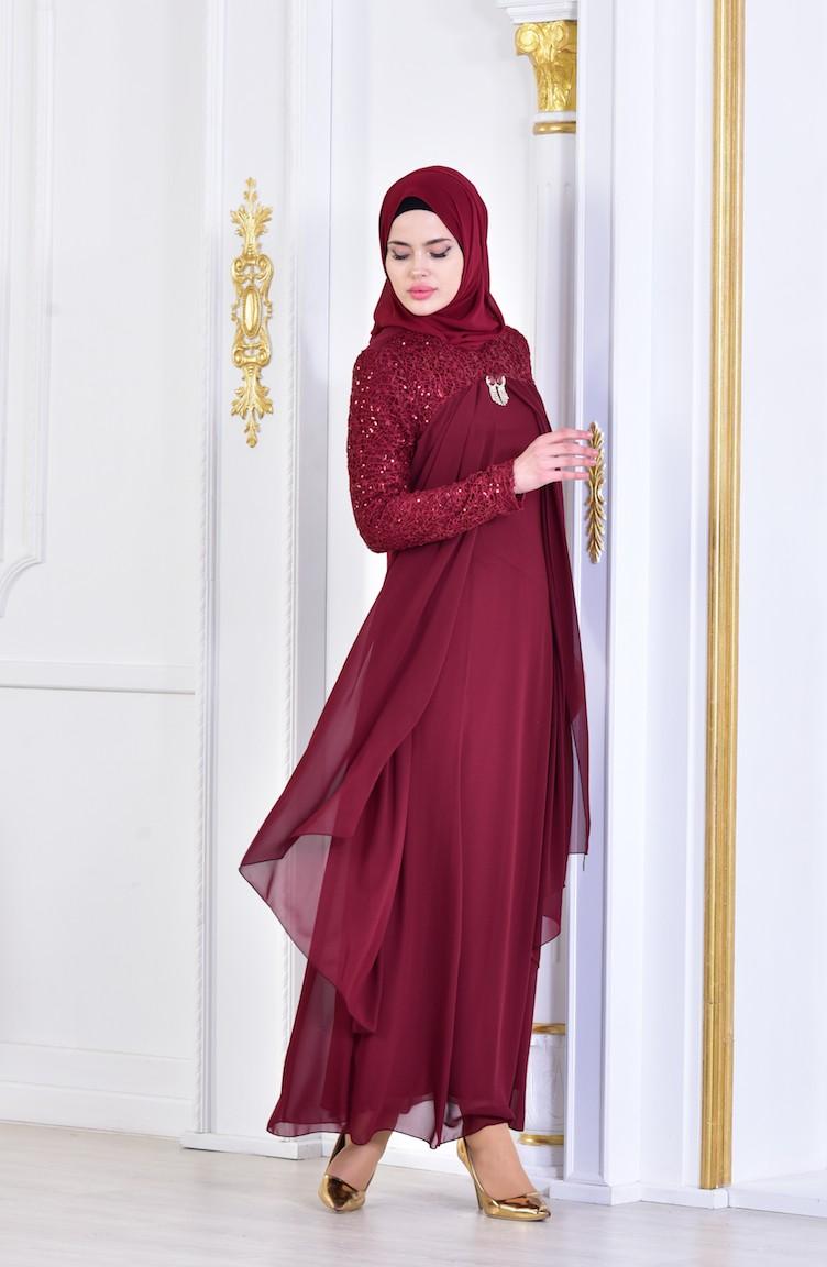 2018 Sefamerve.com Tesettur Abiye Elbise Modelleri koyu bordo