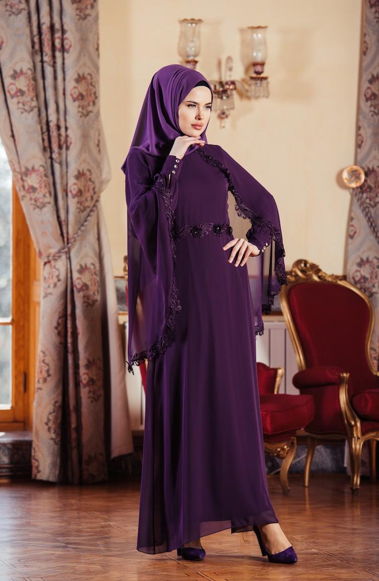 2018 Sefamerve.com Tesettur Abiye Elbise Modelleri mor
