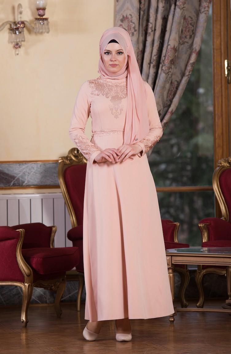 2018 Sefamerve.com Tesettur Abiye Elbise Modelleri pudra