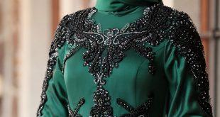 2018 Sefamerve.com Tesettur Abiye Elbise Modelleri zumrut