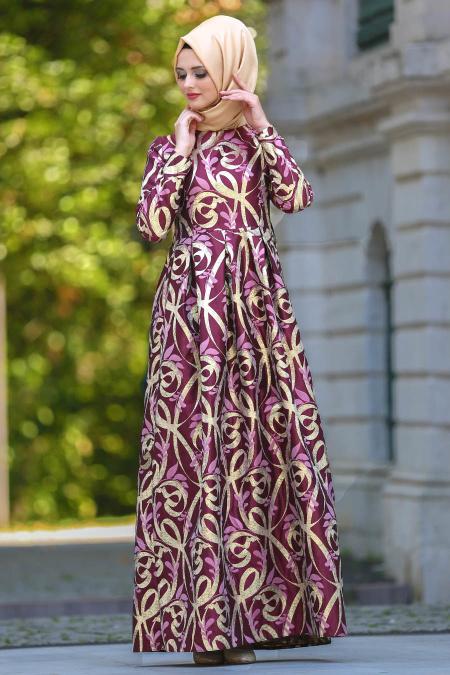 2018 Tesettur Pileli Abiye Elbise Modelleri desenli pileli bordo - 2018 Tesettür Pileli Abiye Elbise Modelleri