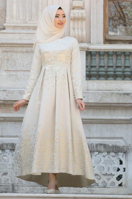 2018 Tesettur Pileli Abiye Elbise Modelleri--desenli-pileli-ekru