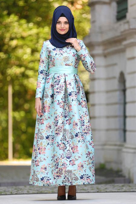 2018 Tesettur Pileli Abiye Elbise Modelleri jakarli mint - 2018 Tesettür Pileli Abiye Elbise Modelleri