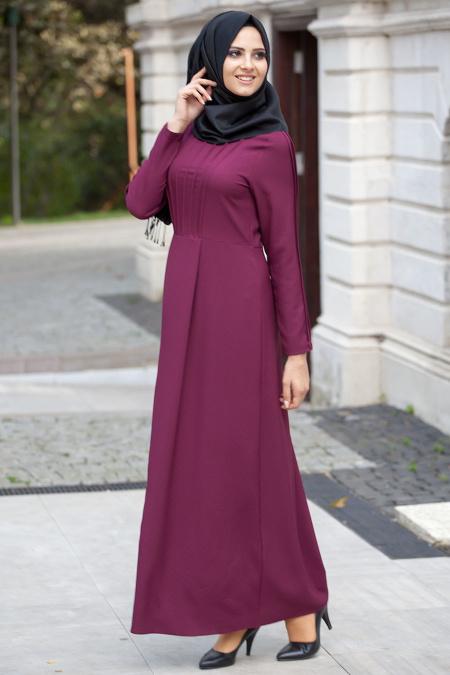 2018 Tesettur Pileli Abiye Elbise Modelleri kollari pileli murdum - 2018 Tesettür Pileli Abiye Elbise Modelleri