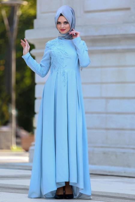2018 Tesettur Pileli Abiye Elbise Modelleri-pileli-bebek-mavisi