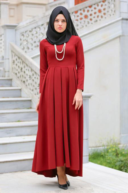 2018 Tesettur Pileli Abiye Elbise Modelleri pileli bordo 2 - 2018 Tesettür Pileli Abiye Elbise Modelleri