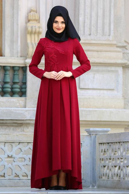 2018 Tesettur Pileli Abiye Elbise Modelleri pileli bordo - 2018 Tesettür Pileli Abiye Elbise Modelleri