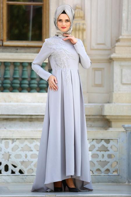 2018 Tesettur Pileli Abiye Elbise Modelleri pileli gri - 2018 Tesettür Pileli Abiye Elbise Modelleri