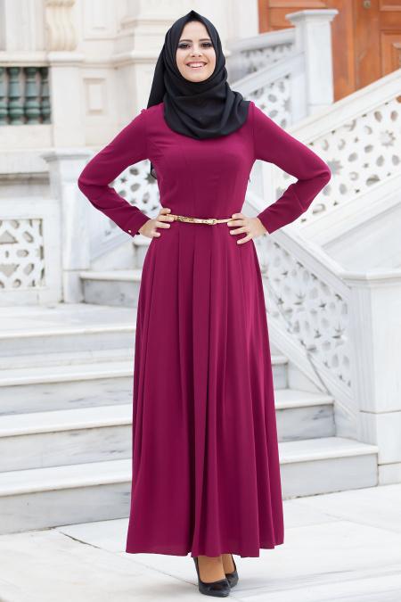 2018 Tesettur Pileli Abiye Elbise Modelleri pileli murdum  - 2018 Tesettür Pileli Abiye Elbise Modelleri