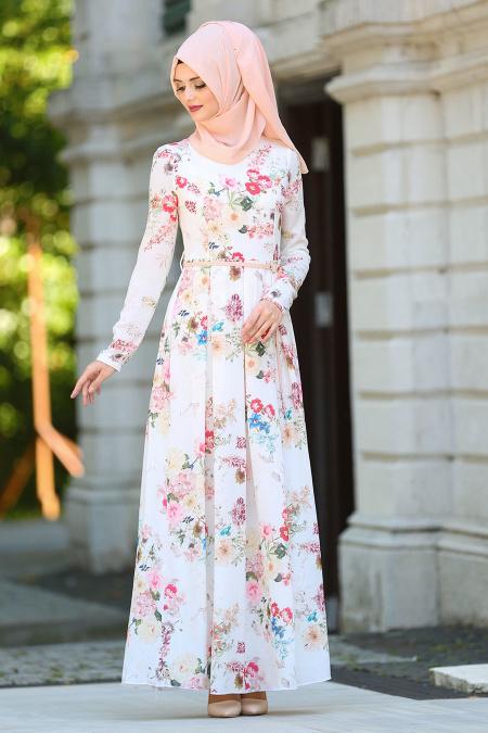 2018 Tesettur Pileli Abiye Elbise Modelleri-pileli-pudra