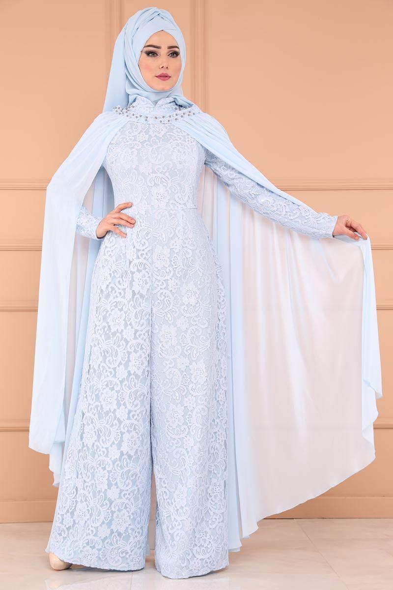 2018 Tesettur Tulum Modelleri pelerinli dantel tulum abiye bebe mavi - 2018 Tesettür Tulum Modelleri