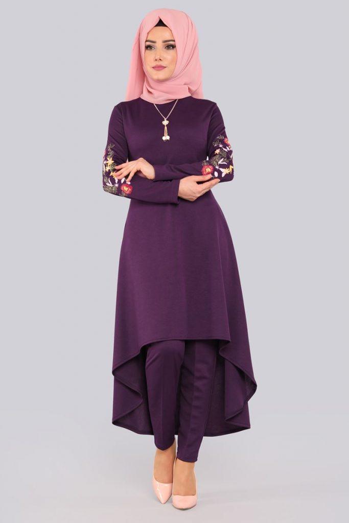 Bayrama Ozel Tesetturlu Elbise Kombinleri-cicek-nakisli-peplum-3lu-kombin-mor