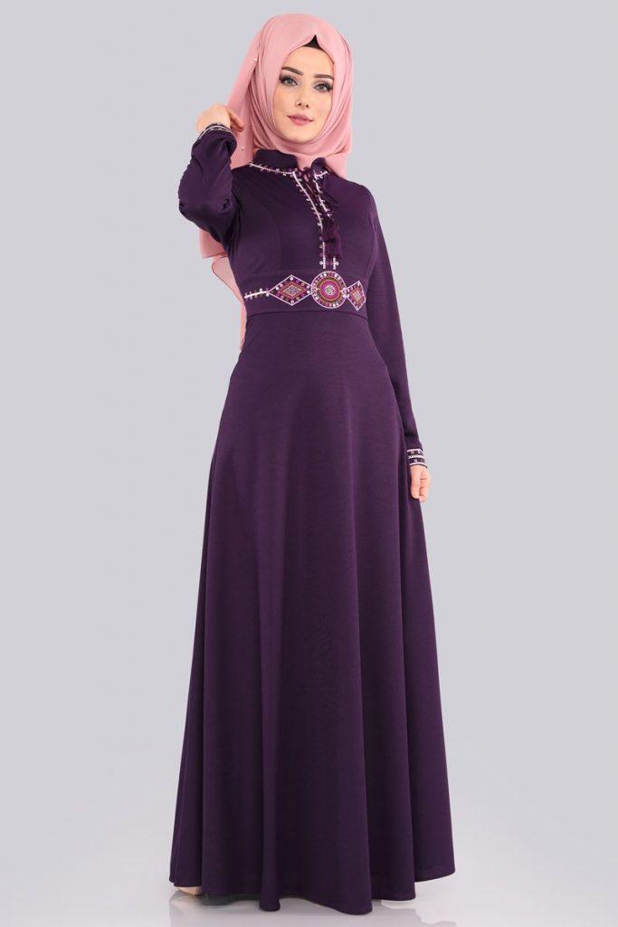 Bayrama Ozel Tesetturlu Elbise Kombinleri-etamin-nakisli-elbise-mor