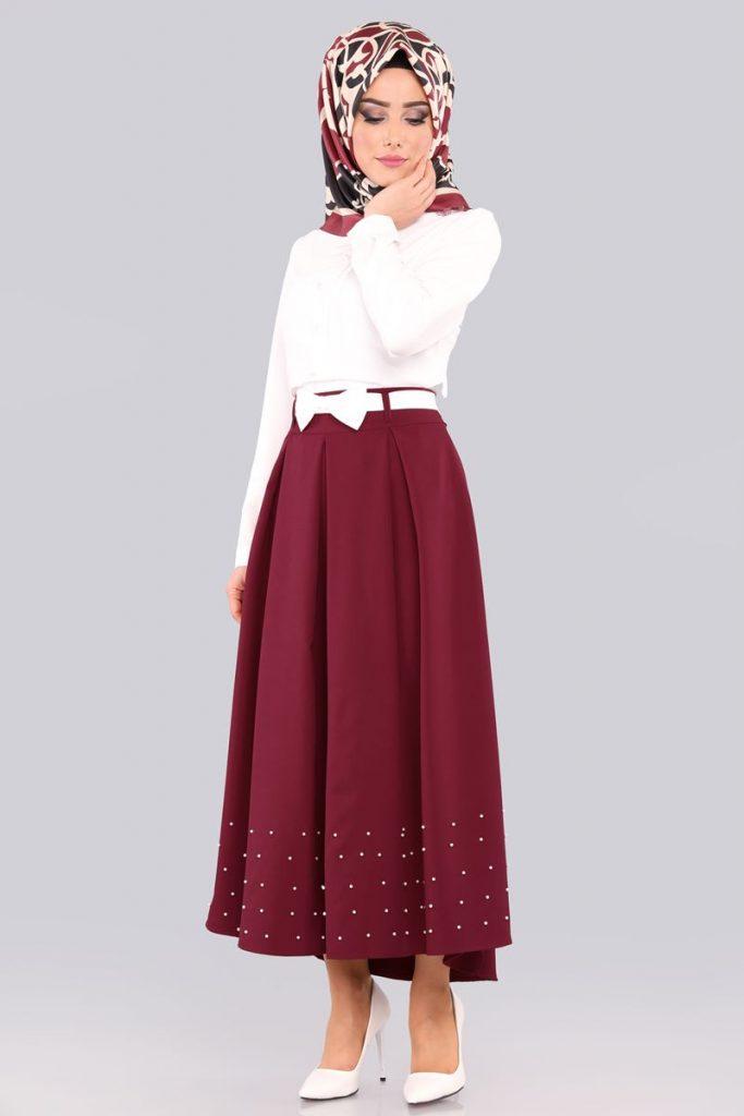 Bayrama Ozel Tesetturlu Elbise Kombinleri-etegi-incili-2li-kombin-bordo