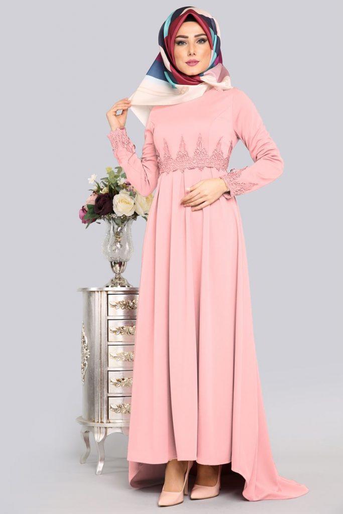 Bayrama Ozel Tesetturlu Elbise Kombinleri-gupurlu-pudra