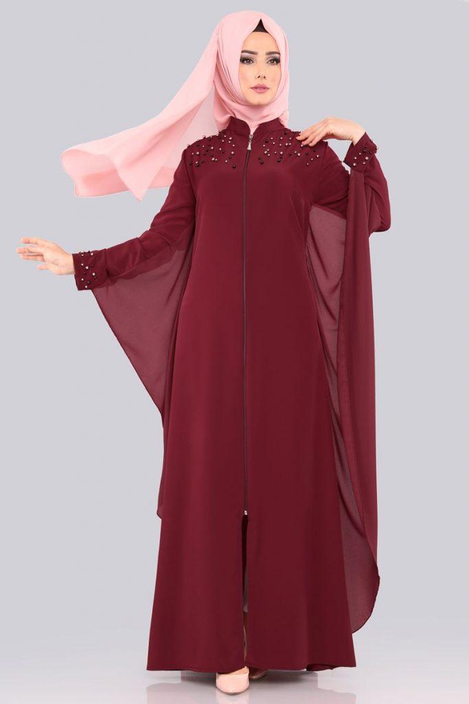 Bayrama Ozel Tesetturlu Elbise Kombinleri-inci-detay-ferace-bordo