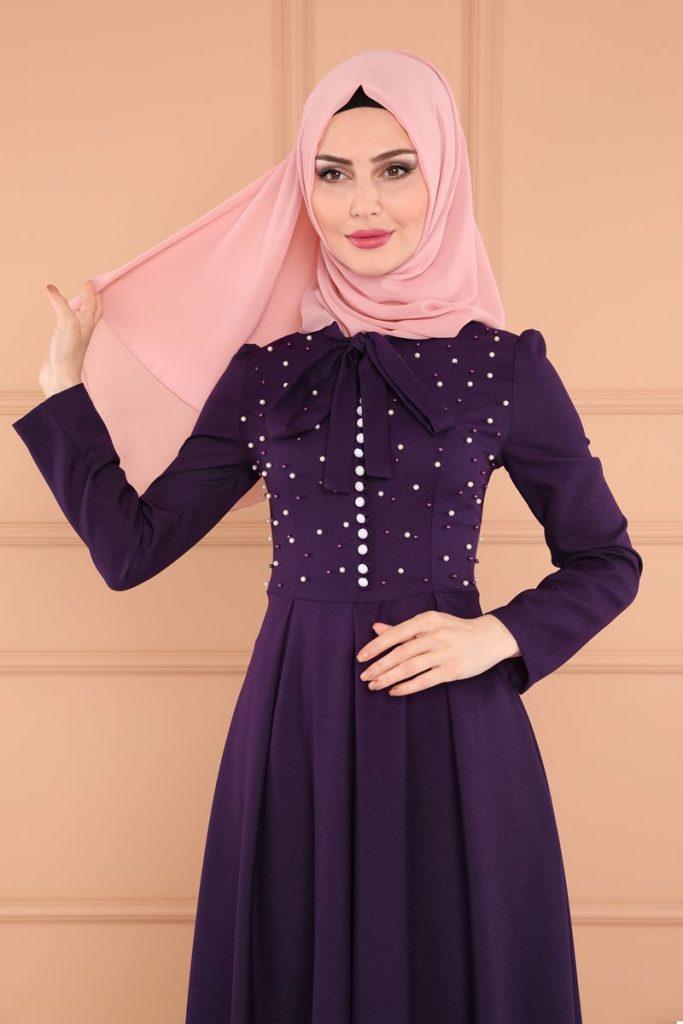 Bayrama Ozel Tesetturlu Elbise Kombinleri-inci-detay-peplum-mor