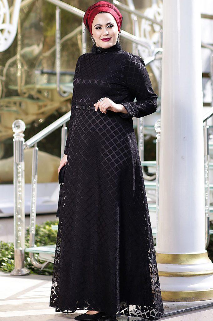 Buyuk Beden Tesettur Giyim Abiye Elbise Modelleri-gul-desen