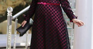 Buyuk Beden Tesettur Giyim Abiye Elbise Modelleri gul desenli 1