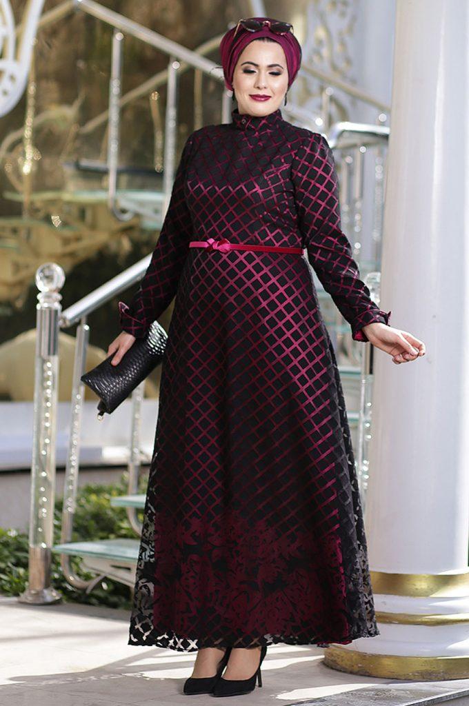 Buyuk Beden Tesettur Giyim Abiye Elbise Modelleri-gul-desenli 1