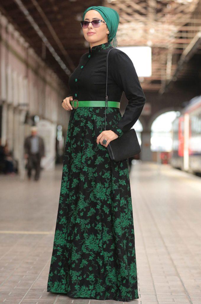 Buyuk Beden Tesettur Giyim Abiye Elbise Modelleri haki