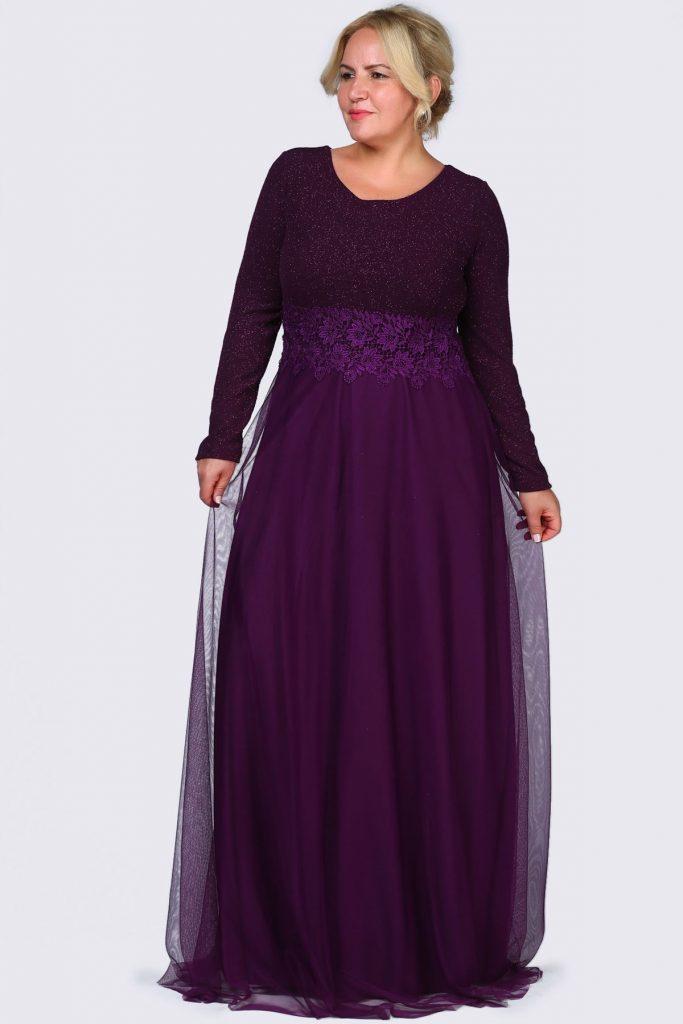 Buyuk Beden Tesettur Giyim Abiye Elbise Modelleri-sirt-dugme-detay-dantel-islemeli-mor-abiye