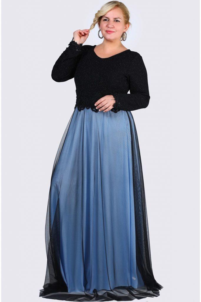 Buyuk Beden Tesettur Giyim Abiye Elbise Modelleri-sirt-dugme-detay-pul-isleme-simli-mavi-siyah-abiye