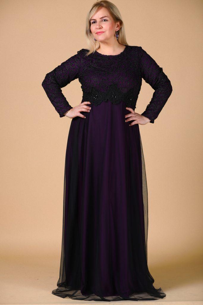 Buyuk Beden Tesettur Giyim Abiye Elbise Modelleri-siyah-mor-abiye