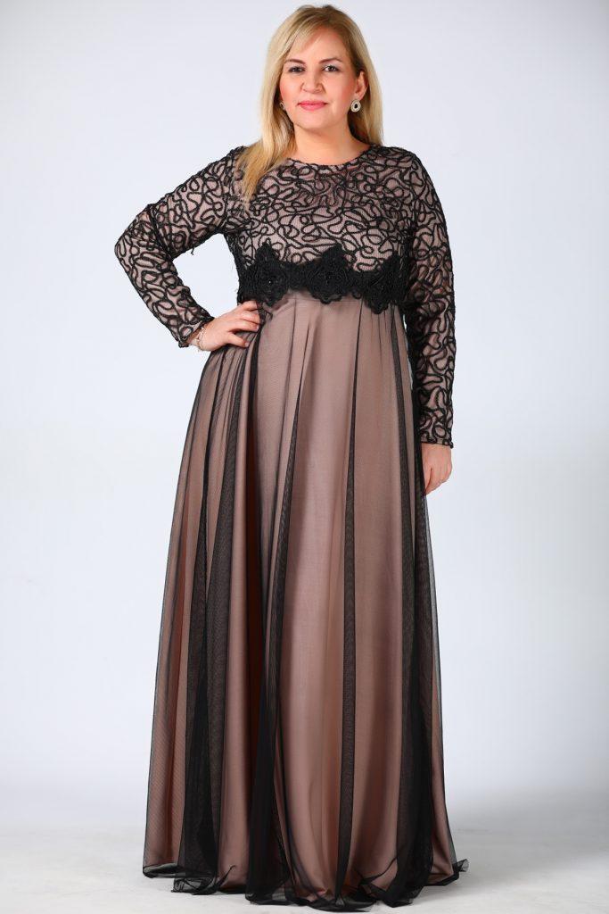 Buyuk Beden Tesettur Giyim Abiye Elbise Modelleri-siyah-pudra-abiye