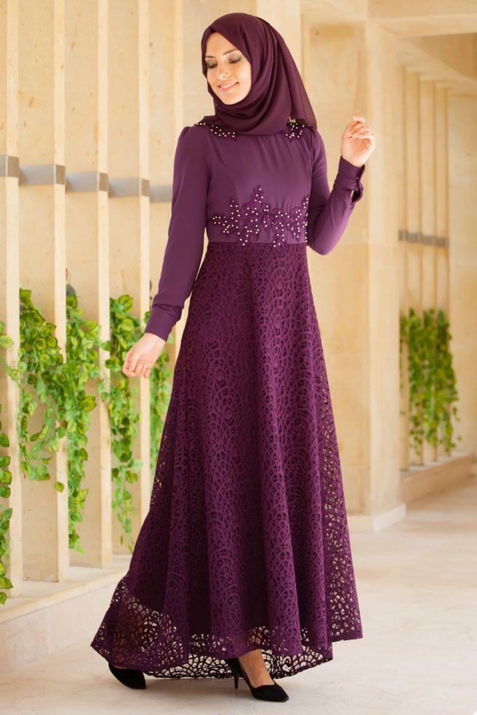 En Guzel Patirti.Com Tesettur Abiye Elbise Modelleri etegi dantel tesettur abiye mor 683x1024 - En Güzel Patirti.Com Tesettür Abiye Elbise Modelleri
