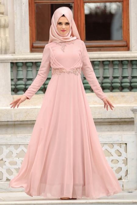 En Guzel Patirti.Com Tesettur Abiye Elbise Modelleri-nervur-detayli-pudra-tesettur-abiye-elbise-pudra