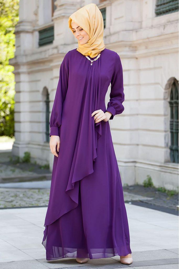 En Guzel Patirti.Com Tesettur Abiye Elbise Modelleri tesettur abiye elbise mor 683x1024 - En Güzel Patirti.Com Tesettür Abiye Elbise Modelleri