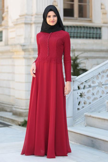 En Guzel Patirti.Com Tesettur Abiye Elbise Modelleri-uzeri-dantel-detayli-bordo-tesettur-abiye-elbise