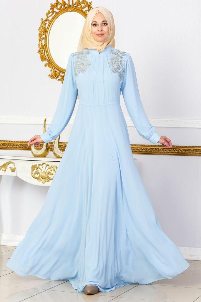 En Guzel Sedanur.com Tesettur Abiye Elbise Modelleri-dantel-aplikeli-tesettur-abiye-elbise-buz-mavisi