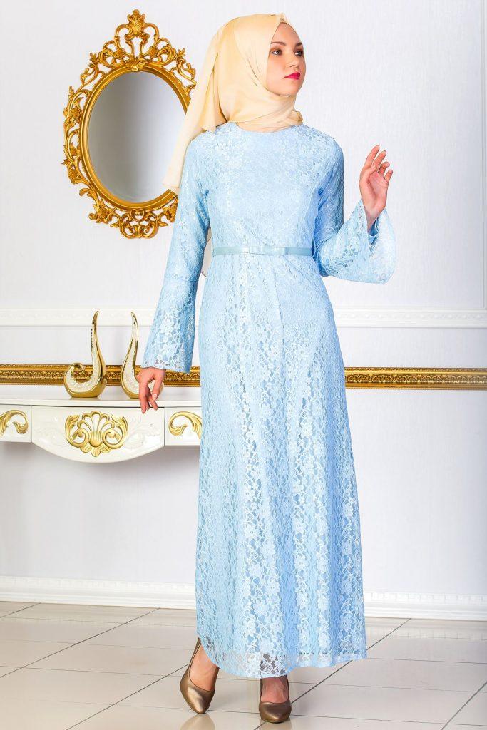 En Guzel Sedanur.com Tesettur Abiye Elbise Modelleri-dantel-detayli-kemerli-abiye-elbise-buz