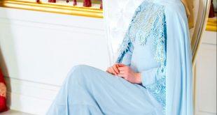En Guzel Sedanur.com Tesettur Abiye Elbise Modelleri dantel detayli pelerinli buz e1527720031370