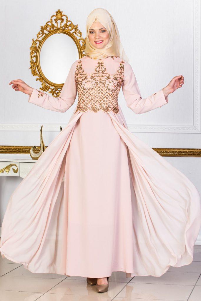 En Guzel Sedanur.com Tesettur Abiye Elbise Modelleri-pul-detayla-pelerinli-pudra