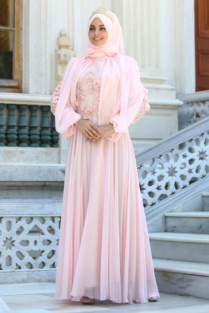 En Guzel Sedanur.com Tesettur Abiye Elbise Modelleri-sal-kombinli-dantel-detayli-pembe