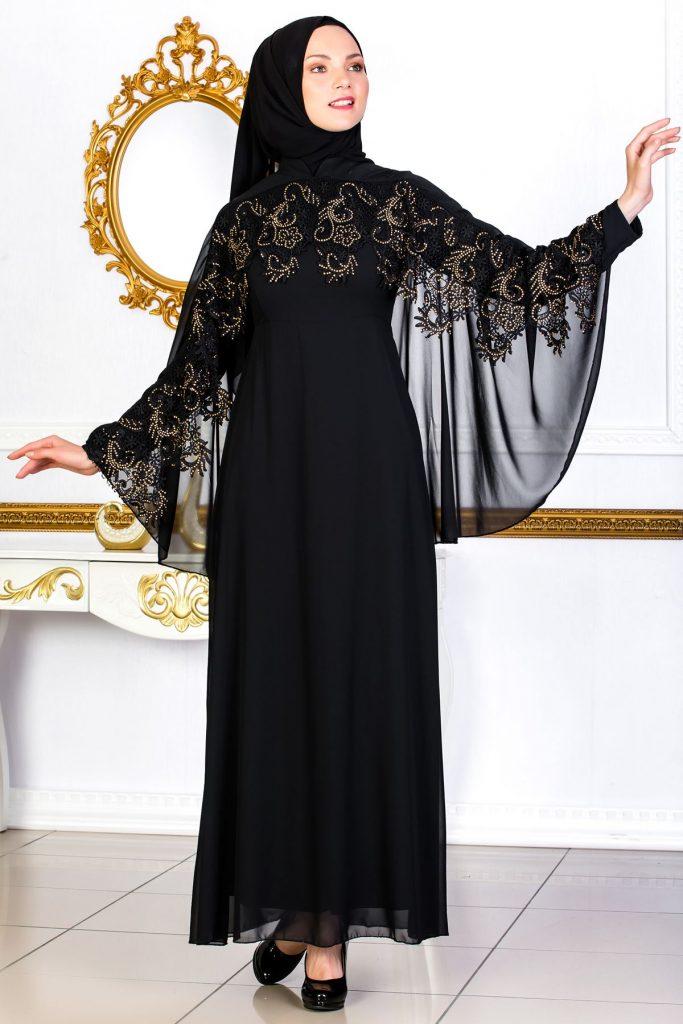 En Guzel Sedanur.com Tesettur Abiye Elbise Modelleri-dantel-detayli-pelerinli-siyah