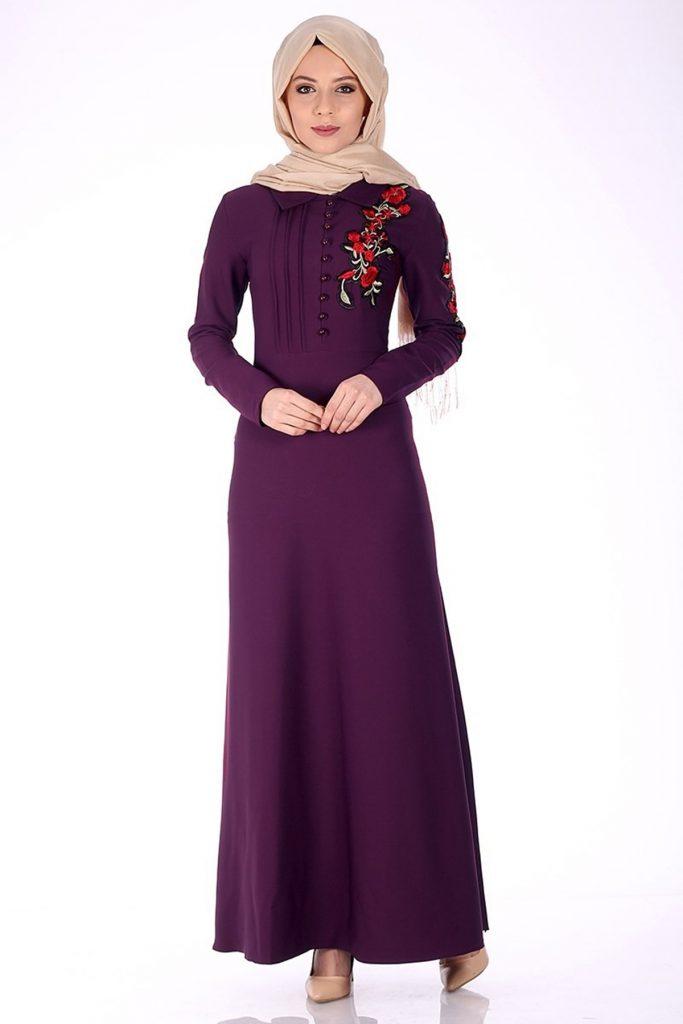 En Sik Patirti.com Tesettur Abiye Elbise Modelleri cicek aplikeli abiye elbise murdum