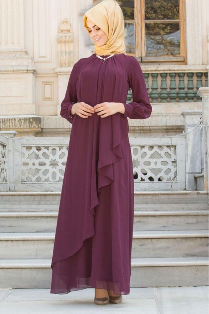 En Sik Patirti.com Tesettur Abiye Elbise Modelleri asimetrik tesettur abiye elbise murdum